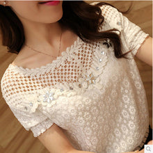 S-5XL Blusas 2017 Spring Summer Women Long Sleeve White Lace Floral Blouse Shirts O neck Hollow Out Casual Tops Plus Size