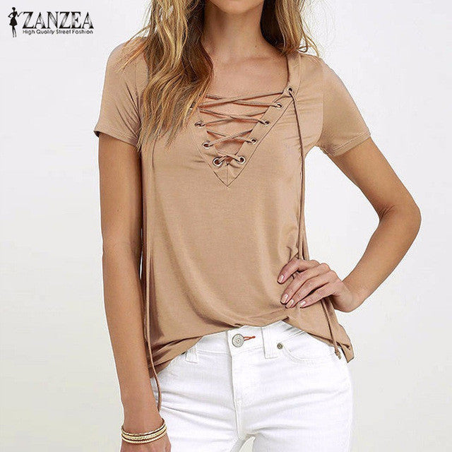 ZANZEA Women Blusas 2017 Summer Oversized Sexy V Neck Blouses Short Sleeve Casual Hollow Out Lace Up Shirts Plus Size Tee Tops