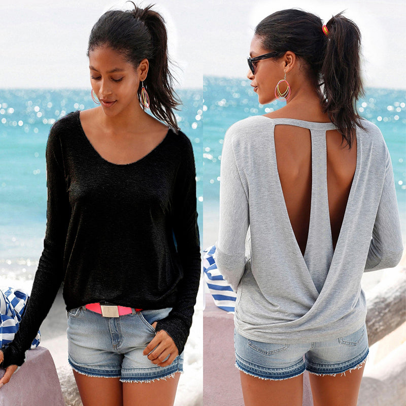 Deep V neck shirt women tees Sexy lace up Open Back Casual Long Sleeve Backless top