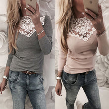 Long Sleeve Casual Solid Shirt Lace Hallow Out V-Neck Loose Cotton Top