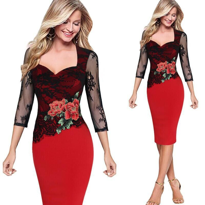 2017 Vintage Floral Red Lace Party Dress