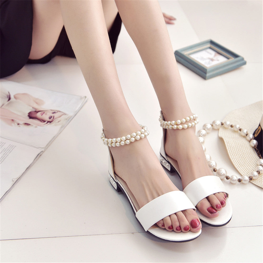 Bohemian Simple Upper One Band Pearl Sandals
