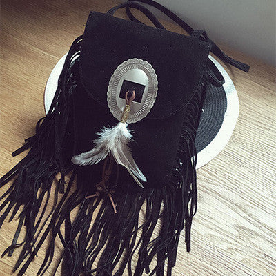 Small feather suede bag