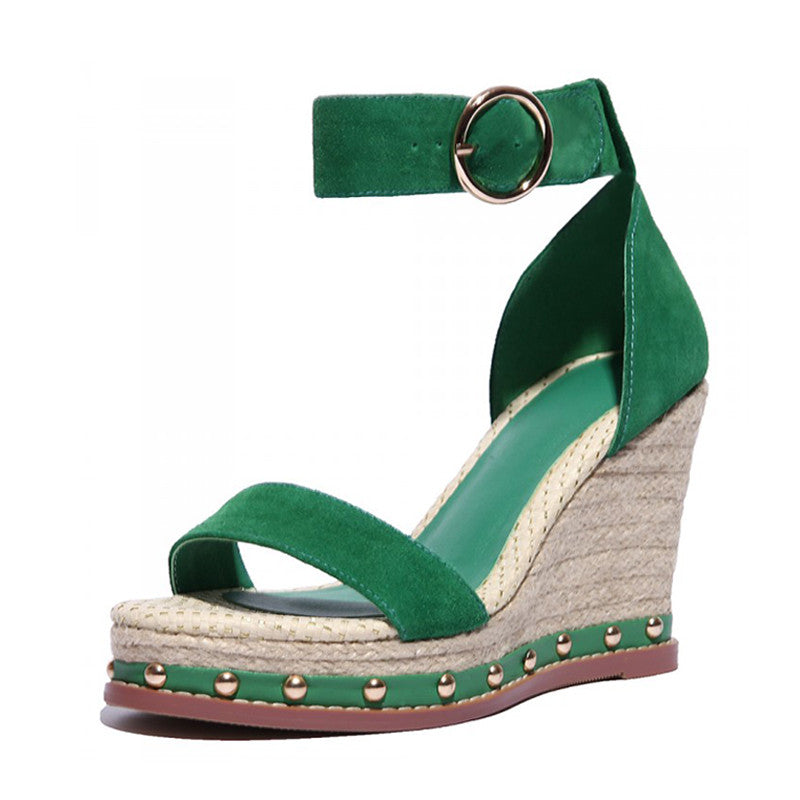 Bohemian Genuine Leather/Suede Ankle Wrap Platform Sandals