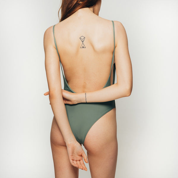 The Wanderlast Cantik swimwear byron one piece swimsuit bodysuit in khaki green army back