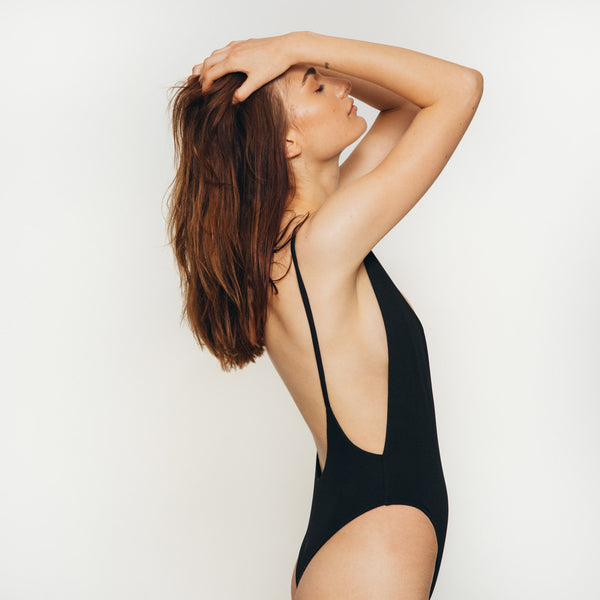 The Wanderlast Cantik swimwear byron one piece swimsuit bodysuit black side