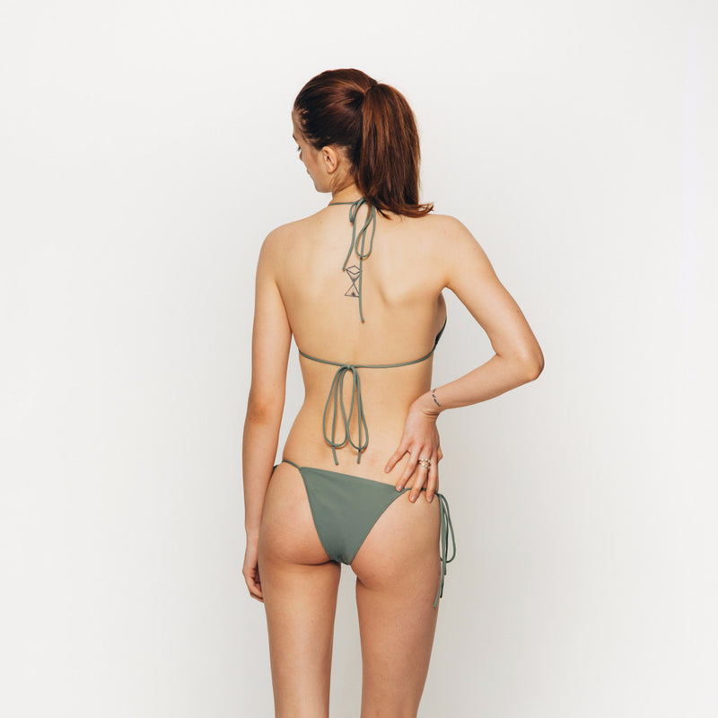 The Wanderlast Cantik swimwear string along bikini top in khaki green army back