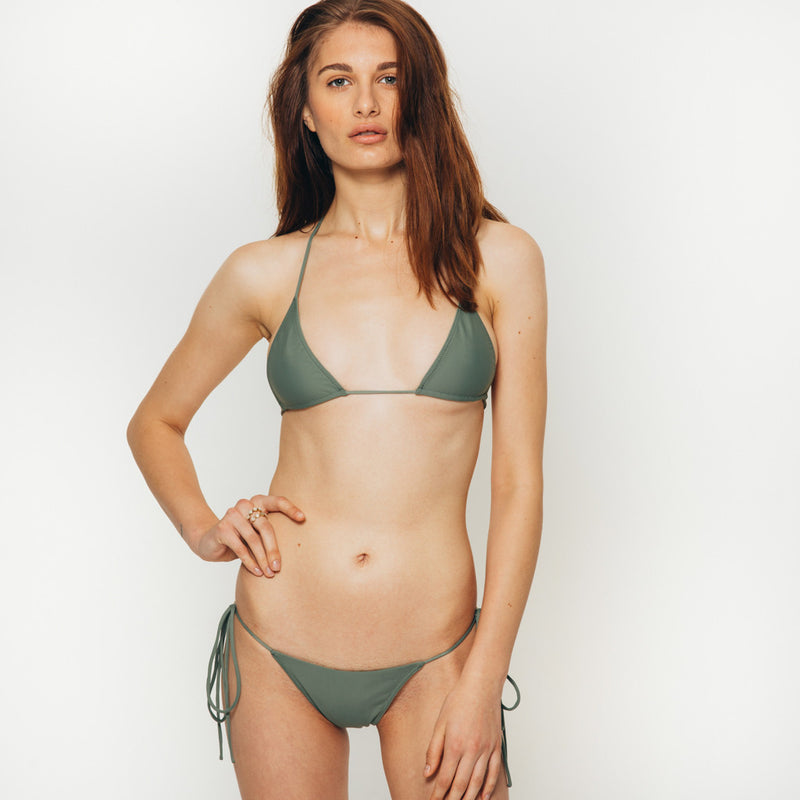 The Wanderlast Cantik swimwear string along bikini top in khaki green army