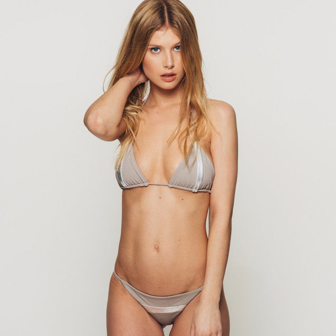 The Wanderlast Djunah swimwear sunset bikini bottom in silver stone grey