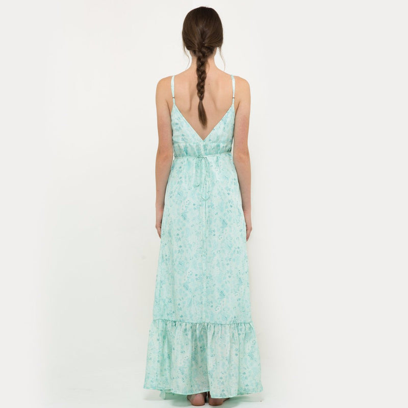 Embroidered silk long dress