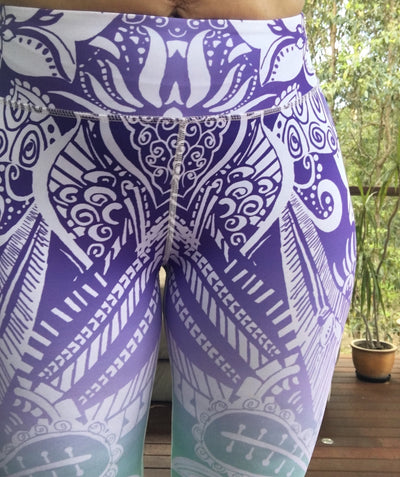 Stunning Floral Purple Haze Ombre Yoga Pants