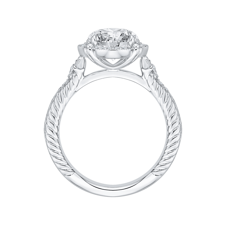 14K White Gold Round Cut Diamond Halo Engagement Ring (Semi Mount) Engagement Ring CARIZZA