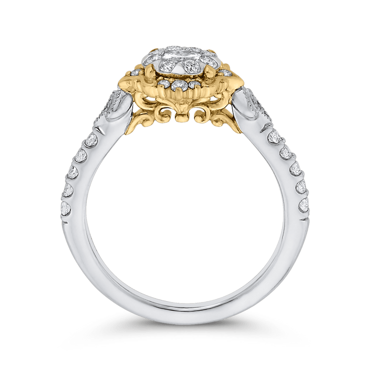 10K Two Tone Gold 5/8 ct Round White Diamond Double Flower Fashion Ring|***Complete Ring Engagement Ring LUMINOUS