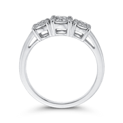 10K White Gold 3/8 ct White Diamond Three Stone Fashion Ring|***Complete Ring Engagement Ring LUMINOUS