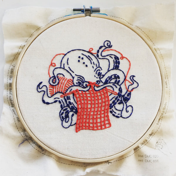 Industrious Octopus Hand Embroidery Kit