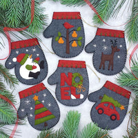 Charcoal Mitten Ornament Wool Felt Kit
