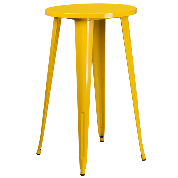 Create a chic dining space with this industrial style table. The colorful table will add a retro-modern look to your home or eatery. This highly versatile Cafe Table is ideal for use in bistros, taverns, bars and restaurants. You can mix and match this style table with any metal chair, even using different colors. A thick brace underneath the top adds extra stability. The legs have protective rubber feet that prevent damage to flooring. This all-weather use table is great for indoor and outdoor settings. Fo