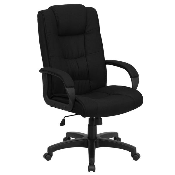 This office chair features fabric upholstery to comfortably get you through your work day or to keep you comfortable while browsing the internet. High back office chairs have backs extending to the upper back for greater support. The high back design relieves tension in the lower back, preventing long term strain. The contoured seat dissipates pressure points for greater comfort. Chair easily swivels 360 degrees to get the maximum use of your workspace without strain. The pneumatic adjustment lever will all