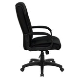 High Back Black Fabric Executive Swivel Chair with Arms - OfficeChairCity.com