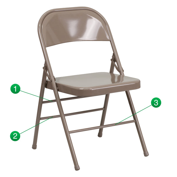The Hercules Beige Metal Folding Chair is a convenient option for everyday use or extra seating in a residential or commercial setting.It features a premium 18 gauge, curved steel frame. The legs are triple braced, with an integrated footrest, and double-hinged with riveted steel components. Though lightweight and easy to fold, transport and store, it's sturdy enough to hold up to 300 pounds. Non-marring floor glides on the legs protect your floors from scuffs and scrapes by sliding smoothly when you need t