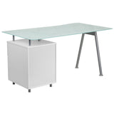White Computer Desk with Glass Top and Three Drawer Pedestal - OfficeChairCity.com