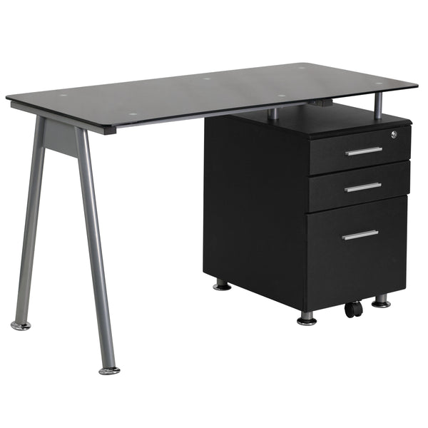 This Black Computer Desk combines glass and black wood for a contemporary look.The desk features a beveled desktop made from black tempered glass and an accenting silver powder coated frame. A black, three drawer pedestal with handsome silver bar pulls keeps your paperwork organized while you're working and secure when you're away. The top drawer locks with a key. The bottom file drawer has a built-in caster that provides additional support and makes it easy to open and close the drawer, even when it's full