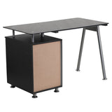 Black Glass Computer Desk with Three Drawer Pedestal - OfficeChairCity.com