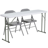 This folding table set will get you started with furnishing your training room. Creating an inviting and comfortable arrangement for your trainees and guests can help you meet your goals for success. This set includes a durable stain resistant plastic folding table and complementary chairs. This setup can be used as a permanent arrangement or easily be stored away for occasional usage. So take the guess work out of piecing together a table set with this 3 piece table setup.