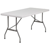 This rectangular folding table is 5 feet long and is beneficial in a multitude of settings that include banquet halls, conference centers, cafeterias, schools and in the home. The table can be used as a temporary seating solution or be setup for everyday use. The durable blow molded top is low maintenance and cleans easily. The table legs fold under the table to make storage more convenient and for better portability. This table is commercial grade to withstand everyday use in the hospitality industry.