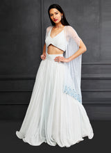 Blue Cape + Lehenga + Braided Blouse