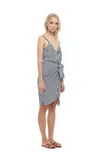 La Confection - Aspen - Midi Dress in Halette Stripe in Black and White