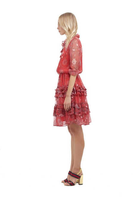 La Confection - Ames - Long sleeve ruffle skirt Dress In Chinoise Print Red