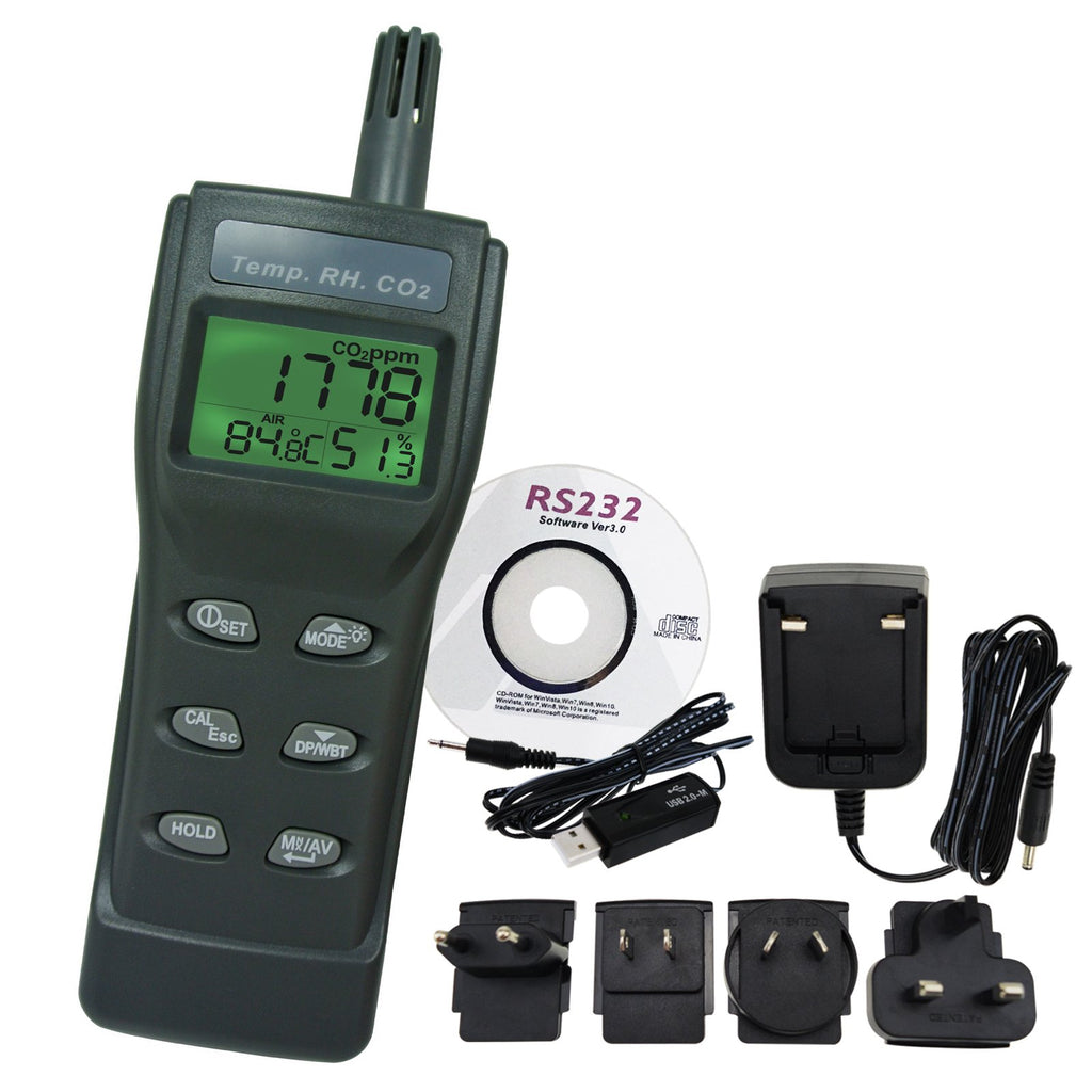 77535_CD_ADAPTOR CO2, RH & Temp Monitor w/PC Software Recording Analyzer, Indoor Air Quality Carbon Dioxide Meter