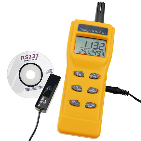 7755_CD_ADAPTOR Carbon Dioxide (CO2) RH & Temperature Real-Time Air Quality Monitor with PC Software Recording Analyzer