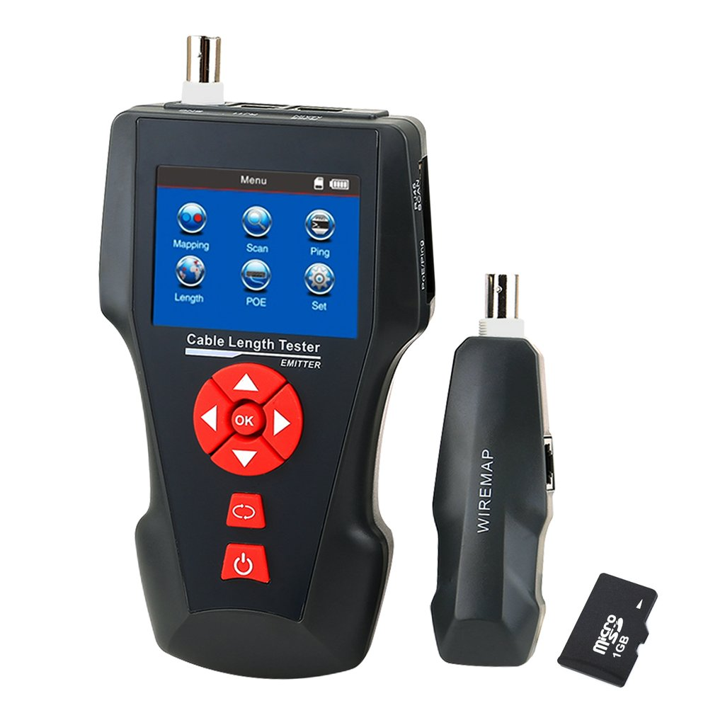 NF-8601A Digital Cable Tester Wire Tracker RJ45 RJ11 BNC Cable Length, with FREE TF Card, Handheld Tester with 8 Remote Identifier PoE PING Data Storage Function and Port Flash