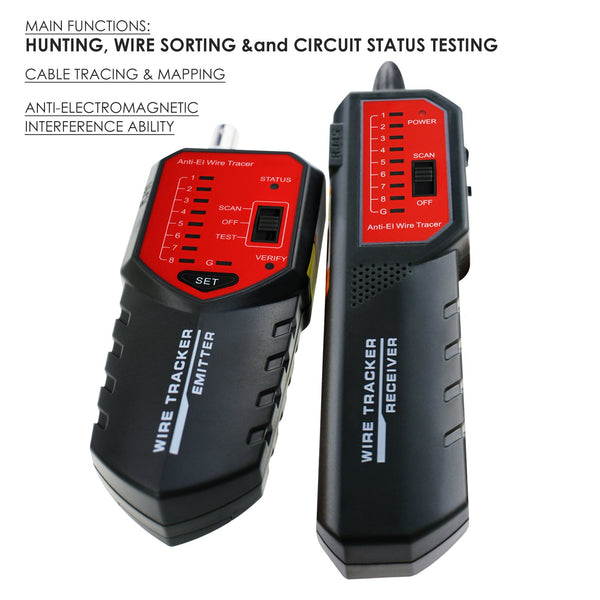 NF-268 RJ45 RJ11 BNC Wire Tracker Locator - Wire Sorting Hunting Circuit Status Checking Tracing STP UTP Network Telephone Coax Cable Tester Finder with Complete AC interference Rejection Error Locator Cable Mapping