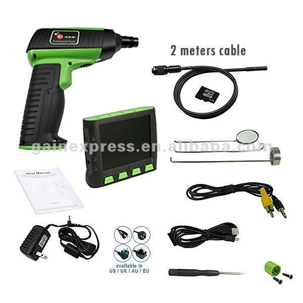 "VID-12_2M Wireless 3.5"" LCD Inspection Camera Endoscope Borescope + 2 Meter Cable"