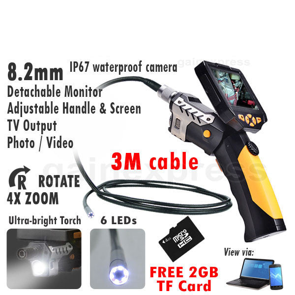 "N04NTS-200_3M Detachable 3.5"" Inspection Camera 8.2mm Endoscope 360° Rotate Borescope + 3M Cable"