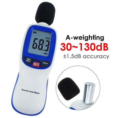 SLM-30 Professional Digital Sound Level Meter, 30~130dBA, A weighting, Decibel Noise Tester, LCD display with Backlight, High Accuracy ±1.5dB, MAX/ MIN/ HOLD Mode, for Noise Volume Measuring, Monitoring