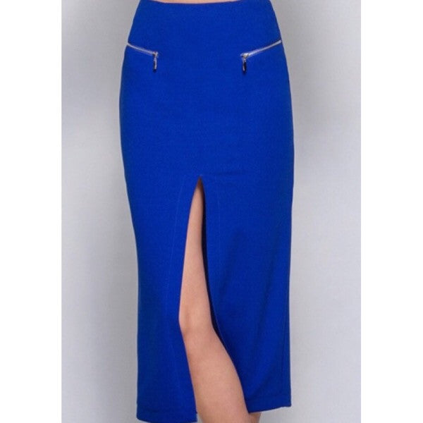 Mid length pencil skirt with front slit and zipper detail