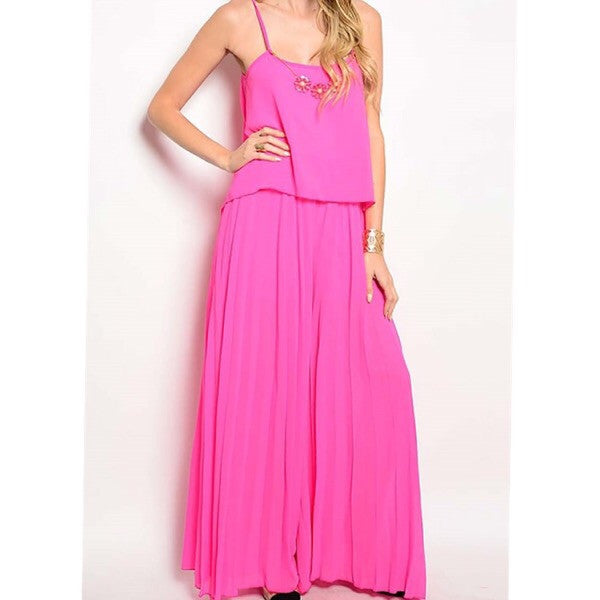 Pleated Jumpsuit with open back