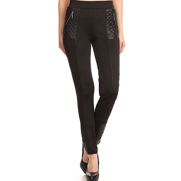 High Waist Faux Leather Contrast Skinny Pants