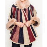 Stripe Fur Trim Poncho