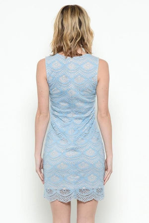 Blue lace overlay dress