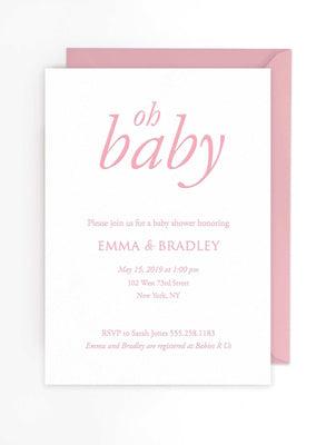 Oh Baby Invites - Letterpress Baby Shower Invitations - Nora Collection - Tea and Becky