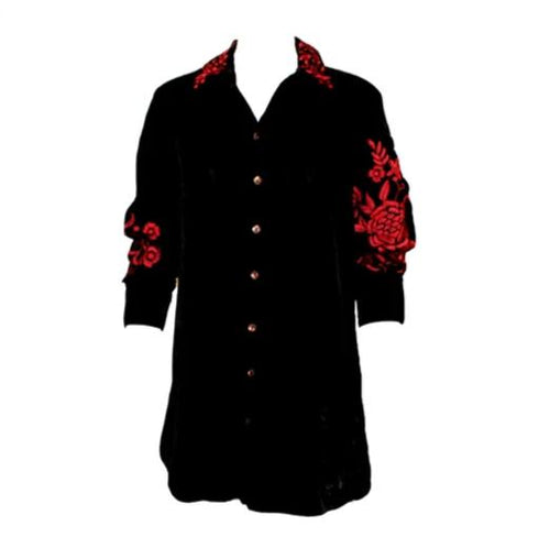 Vintage Collection Liz Velvet Shirt with Red