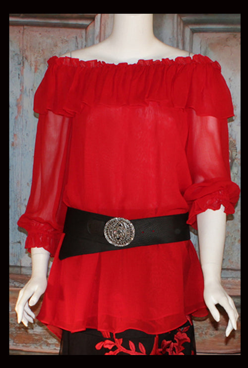 Vintage Collection Red Ruffle Peasant Tunic