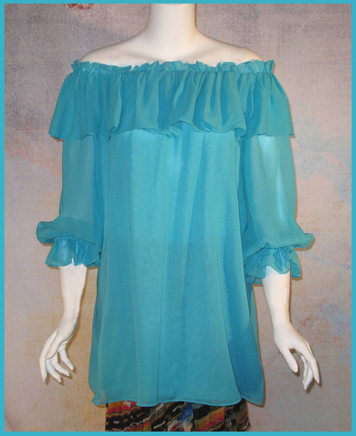 Vintage Collection Turquoise Ruffle Peasant Tunic