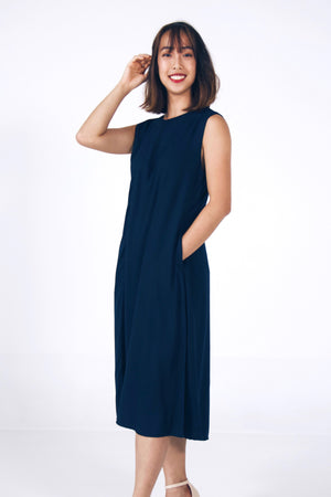 Midi Sleeveless Dress – FrontZip