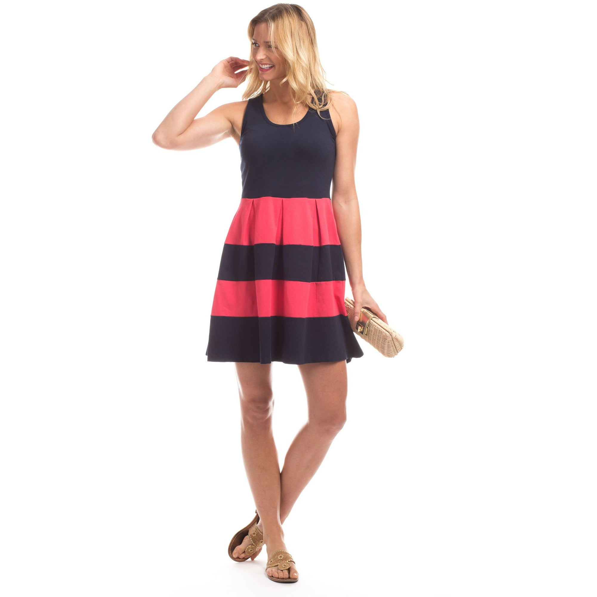Duffield Lane Ludington Striped Dress Berry/Navy